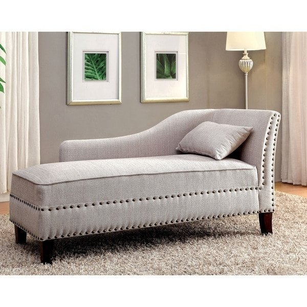 Furniture Of America Gillian Romantic Nailhead Trim Linen Like With Recent Upholstered Chaise Lounges (View 3 of 15)