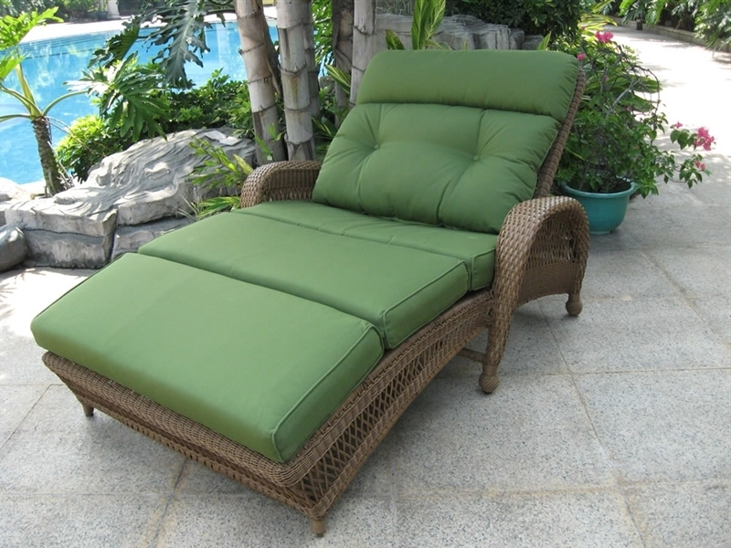 Furniture: Rattan Frame Light Green Curved Double Outdoor Chaise With Famous Outdoor Double Chaise Lounges (View 4 of 15)