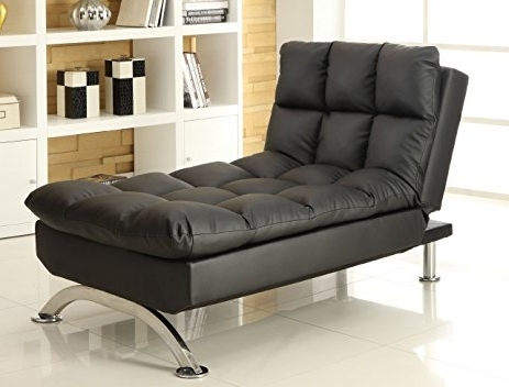 Futon Chaises Pertaining To Popular Amazon: Furniture Of America Lenard Leatherette Chaise, Black (View 7 of 15)