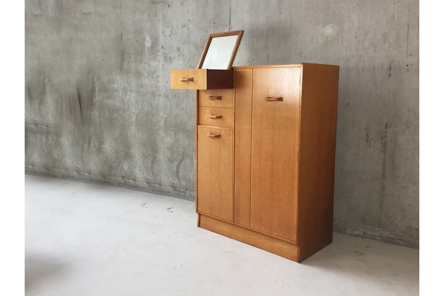 G Plan E Gomme Oak Tallboy / Small Wardrobe With Pop Up Mirror Inside Most Popular Small Tallboy Wardrobes (View 5 of 15)