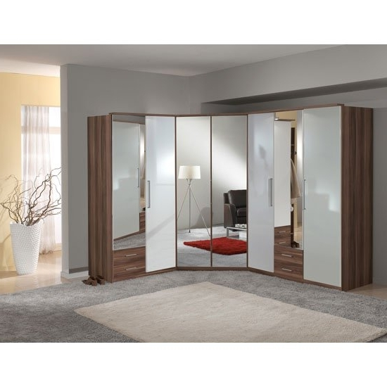 Gastineau Wardrobe In Walnut And White Gloss With Mirror With Newest Corner Mirror Wardrobes (View 8 of 15)