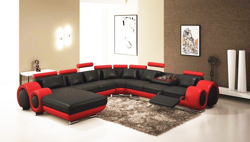 Gemma Modern Black And Red Sectional Sofa (View 3 of 10)