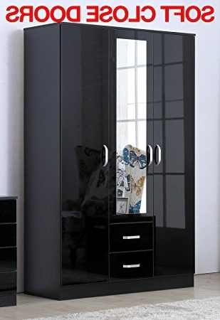 Gladini Xl Mirrored Black High Gloss 3 Door Wardrobe With 2 Throughout 2017 Mirrored Wardrobes With Drawers (View 11 of 15)