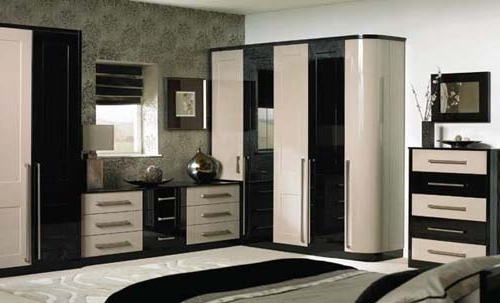 Gloss Black Wardrobes In Popular High Gloss Cappuccino / Black – Warwick – Jws Wardrobes (View 5 of 15)