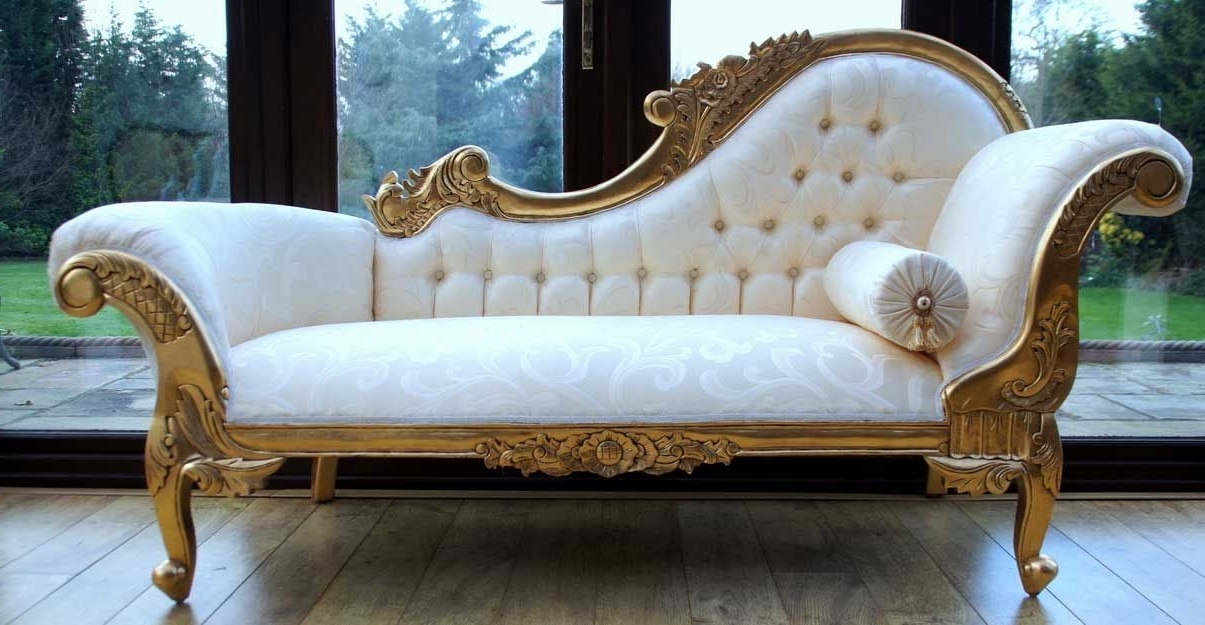 Gold Chaise Lounge Chairs Intended For 2018 Chaise Longue For Bedroom Decoration (Gallery 13 of 15)