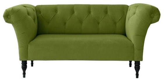 Green Chaise Lounge Chairs Throughout Most Up To Date Chaise Lounge Chair With Arms Tufted Roll Arm Chaise Apple Green (View 9 of 15)
