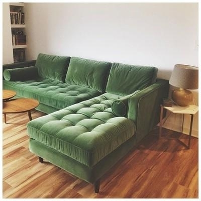 Green Sectional Sofas Within 2017 Sven Grass Green Left Sectional Sofa – Sectionals – Article (View 4 of 10)