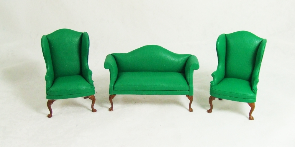 Green Sofa Chairs Throughout Latest Ca059 Green Set, A Green Leather Sofa And Wingback Chairs Set (View 5 of 10)