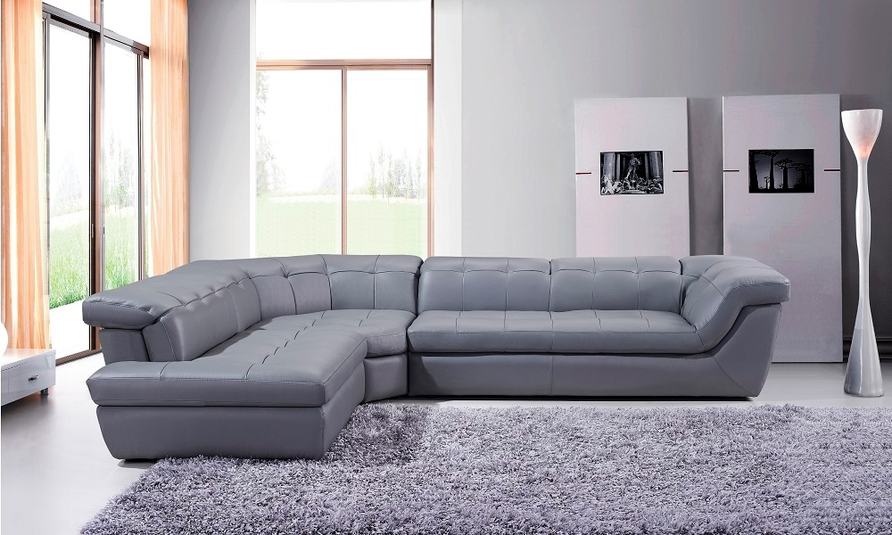Grey Chaise Sectionals Pertaining To Most Recent Sku175442912 Rfc Free Shipping! 397 Italian Leather Sectional Sofa (View 5 of 15)