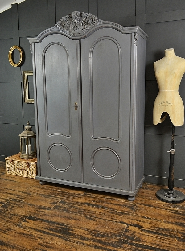Grey Shabby Chic Antique Ornate Top Double Wardrobe (View 6 of 15)