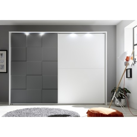 Grey Wardrobes With Regard To Preferred Oslo Wardrobe With Sliding Doors In White And Grey Finish (View 6 of 15)