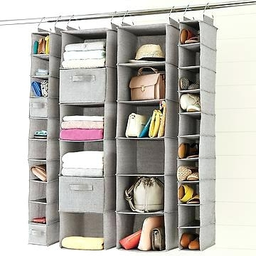 Hanging Wardrobes Shelves In Preferred Wardrobes ~ New Double Canvas Wardrobe With Clothes Rail Shelves (View 8 of 15)