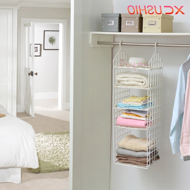 Hanging Wardrobes Shelves With Regard To 2018 Xc Ushio Folding Wardrobe Clothes Storage Rack Hooks Home Plastic (View 11 of 15)
