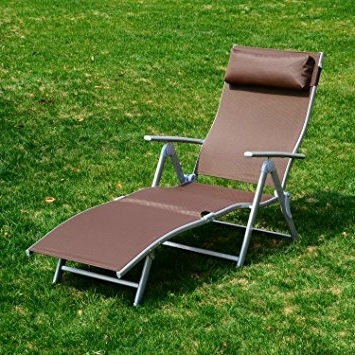 Heavy Duty Outdoor Chaise Lounge Chairs For Current Outsunny Heavy Duty Adjustable Folding Reclining Chair Seat (View 4 of 15)