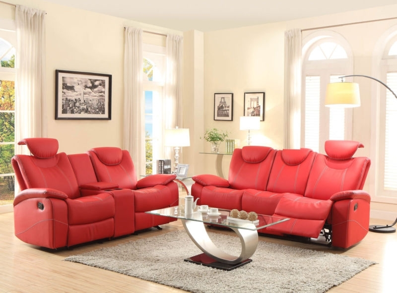 Helen – Modern Red Bonded Leather Recliner Sofa Couch Loveseat Set For Most Popular Red Leather Reclining Sofas And Loveseats (View 7 of 17)