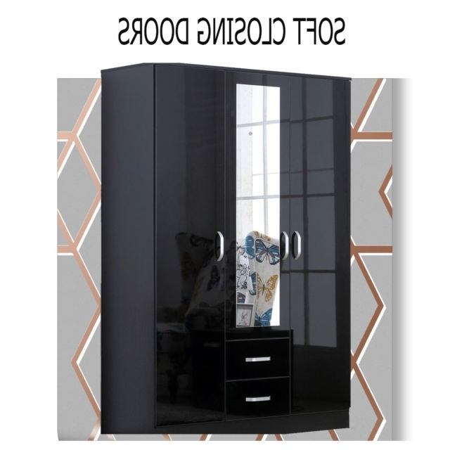High Gloss Doors Wardrobes Intended For 2017 Mirror Xl Black High Gloss 3 Door Wardrobe With Drawers (View 7 of 15)