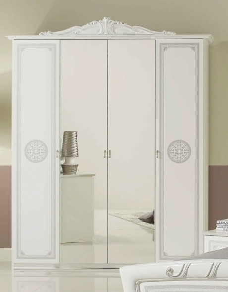 High Gloss Ornate 4 Door Mirrored Wardrobe Intended For Well Known 4 Door Mirrored Wardrobes (View 8 of 15)
