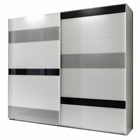 High Gloss Sliding Wardrobes Within Most Up To Date Sliding Wardrobe In White With 2 High Gloss Doors (View 9 of 15)