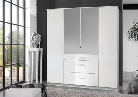 High Gloss White 4 Door Mirrored Wardrobe Pertaining To Popular 4 Door Mirrored Wardrobes (Gallery 15 of 15)
