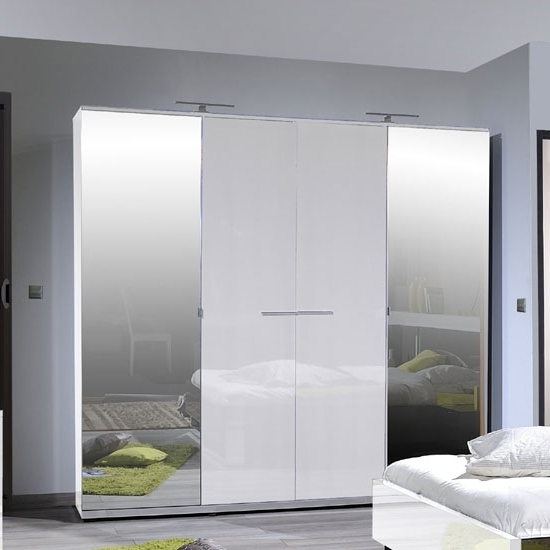 High Gloss White Wardrobes With Famous Sinatra Contemporary Bedroom Wardrobe 4 Doors In
