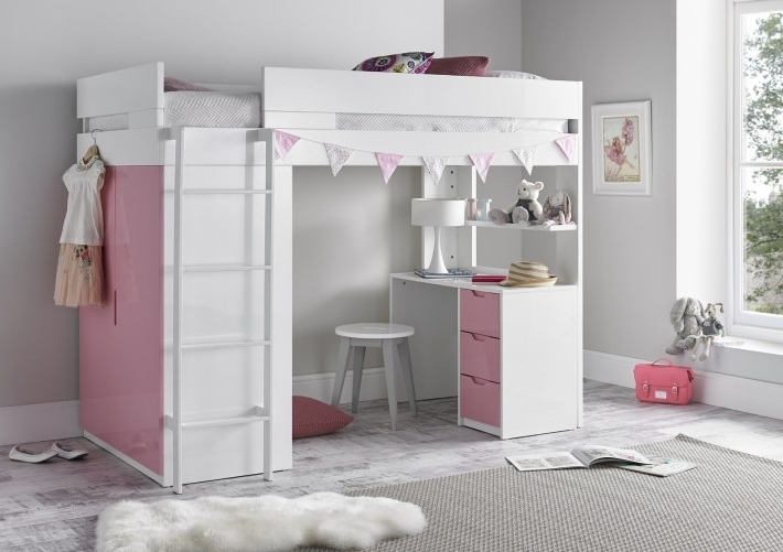 High Sleeper Bed With Wardrobes Regarding Latest Montreal High Sleeper – Pink – Beds (View 7 of 15)