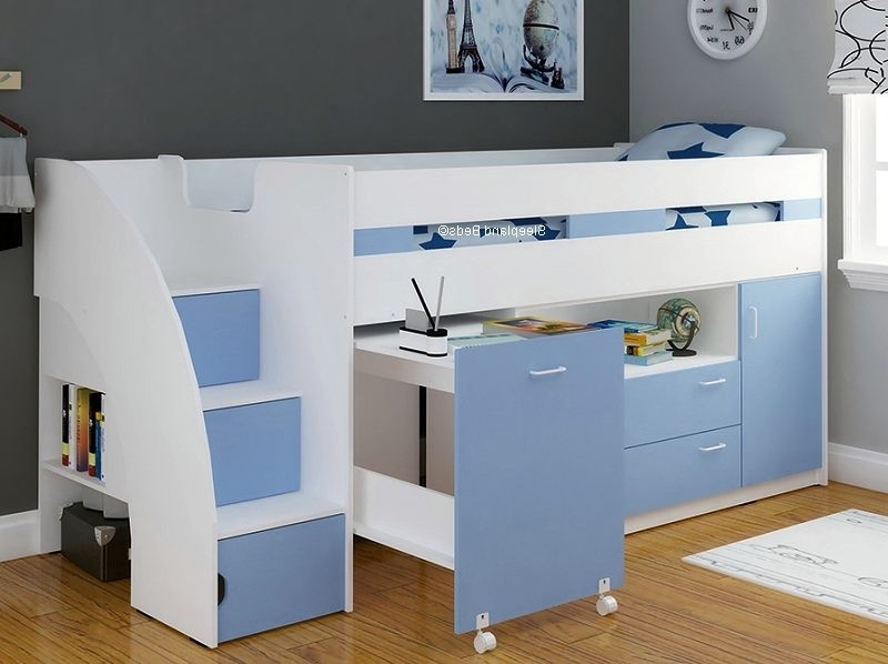 High Sleeper Cabin Bed With Wardrobes Throughout Trendy Light Blue Mid Sleeper Cabin Bed With Storage Steps (View 13 of 15)
