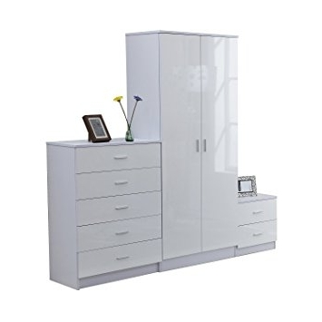 Homcom High Gloss 3 Piece Trio Bedroom Furniture Set Wardrobe + Inside Most Popular White Gloss Wardrobes Sets (View 3 of 15)
