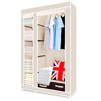 Hst Mall Double Canvas Wardrobe Cupboard Clothes Storage Solution With Regard To Famous Double Black Covered Tidy Rail Wardrobes (View 8 of 15)