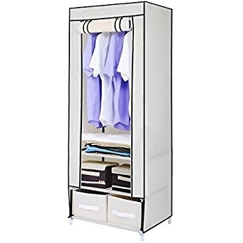 Hst Mall Single Canvas Wardrobe Cupboard Clothes Hanging Rail Regarding Most Popular Double Rail Single Wardrobes (Gallery 9 of 15)