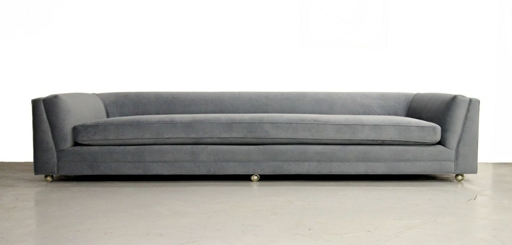 Huge Rare 10Ft Mid Century Modern Long Low Sofa With Rounded Back Inside  Trendy Long Modern