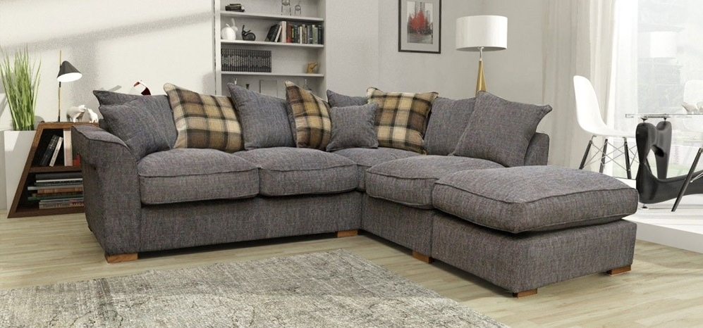 Hugo Corner Lhf Scatter And Footstool Charcoal – Fabric Sofas – Sofas Within Newest Fabric Corner Sofas (View 6 of 10)