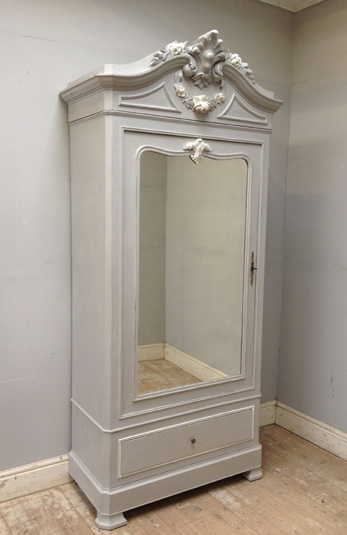 If3081 French Antique Single Door Armoire With Regard To Fashionable Single French Wardrobes (View 7 of 15)