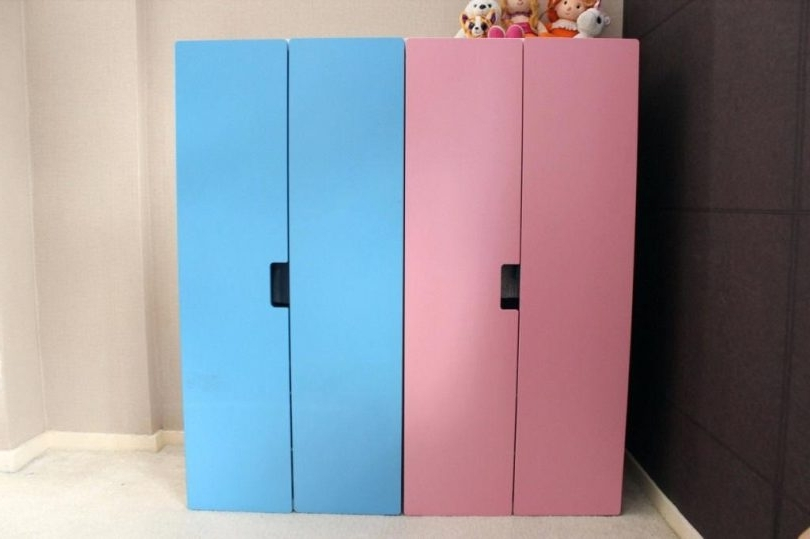Ikea Stuva Kids Wardrobe Pink And Blue Ikea Childrens Wardrobe Throughout Current Childrens Pink Wardrobes (View 9 of 15)