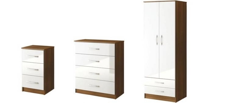 Incredible Lynx High Gloss Walnutwhite Bedroom Sets White And Regarding Latest White Gloss Wardrobes Sets (View 4 of 15)