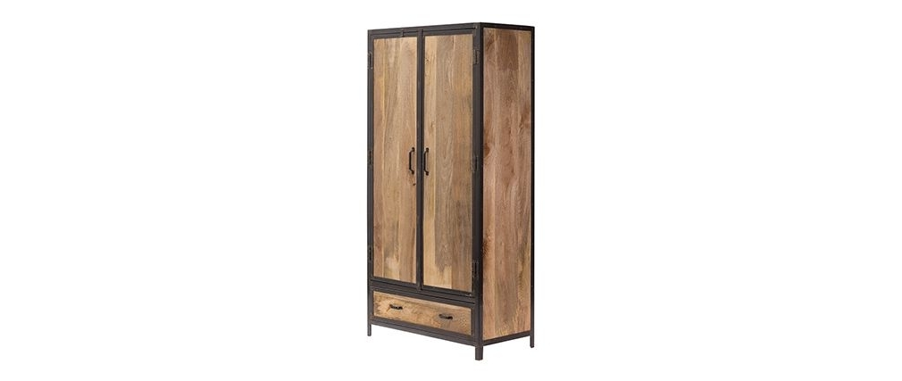 Industrial Style Wardrobes For Most Popular Industria Industrial Style Mango Wood Wardrobe – Miliboo (View 7 of 15)