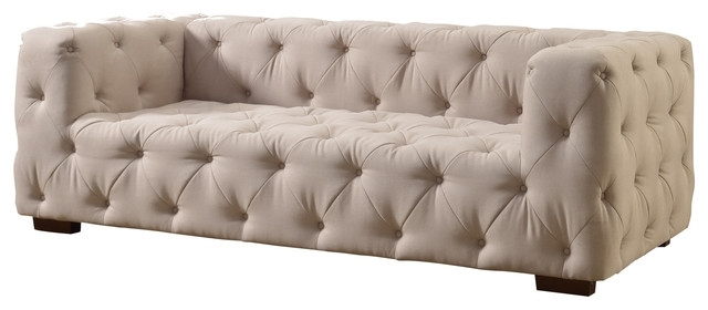 Inspirational Tufted Linen Sofa 68 For Your Home Bedroom Furniture Regarding Fashionable Tufted Linen Sofas (View 5 of 10)