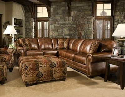 Ivan Smith Sectional Sofas For Preferred Saddle Sectional With Studs, Two Piece Sectional, Rustic, Western (View 5 of 10)
