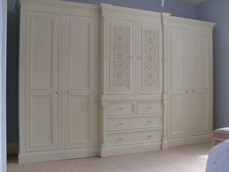 Ivory French White Painted 10Ft Large 6 Door Jali Style Solid Pine Pertaining To Newest French Style Fitted Wardrobes (View 9 of 15)