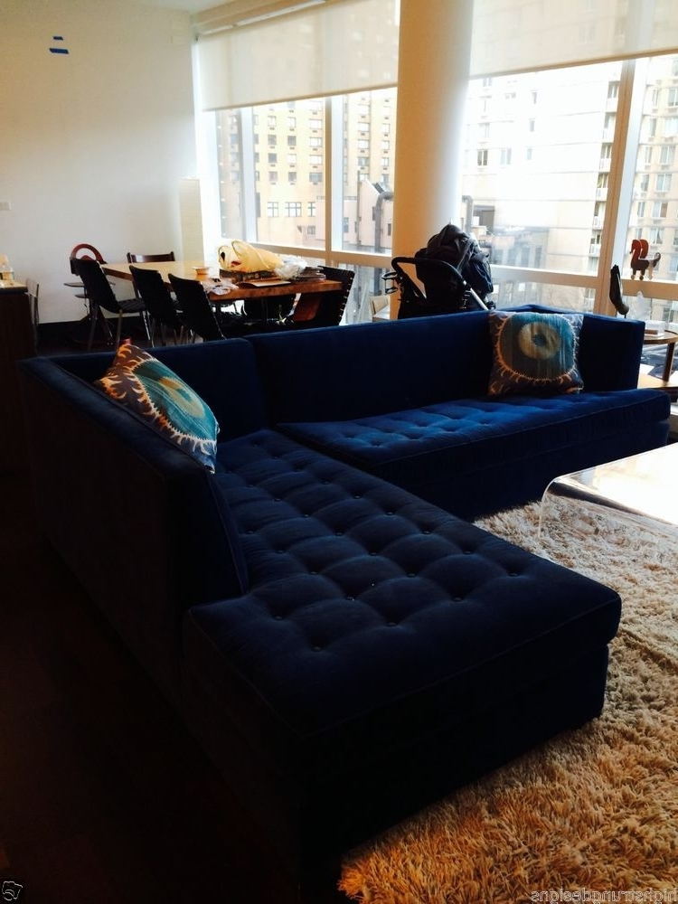 "Jordans Sectional Sofas For Most Recent $6500 Mitchell Gold Navy Blue Velvet Button Tufted ""jordan (View 3 of 10)"