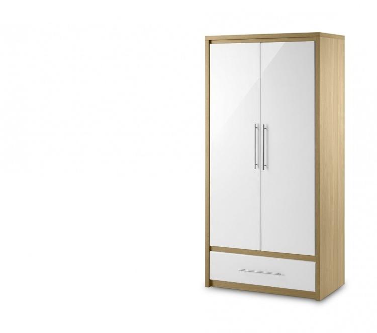 Julian Bowen Stockholm Oak And White 2 Door Combination Wardrobe Pertaining To Well Known Julian Bowen Wardrobes (View 3 of 15)
