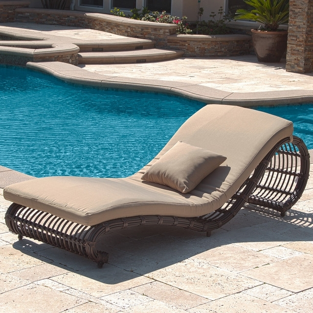 Kauai Outdoor Wicker Pool Chaise Lounge Chair Set Of 2 Modern With Inside Well Known Chaise Lounge Chairs For Poolside (View 6 of 15)