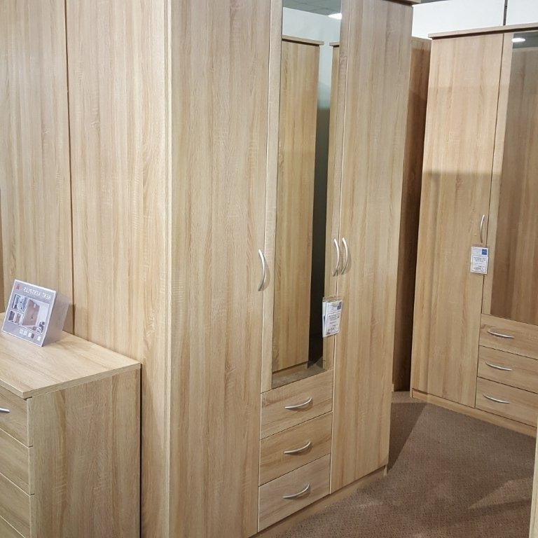 Kent Wardrobes Regarding Most Recent Rauch Kent 3 Door Centre Mirror Wardrobe With Drawers (Gallery 14 of 15)