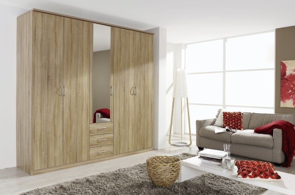 Kent Wardrobes Regarding Most Up To Date Buy Rauch Kent Sonoma Oak 5 Door Wardrobe – W 225Cm Online – Cfs Uk (View 11 of 15)