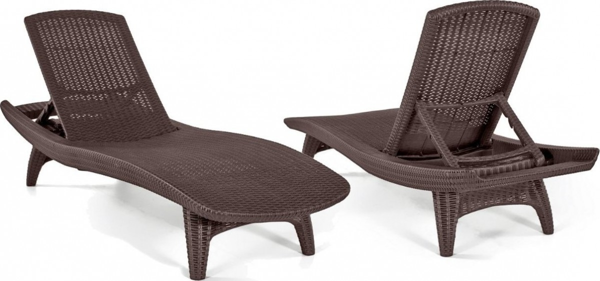 Keter 2Pc Rattan Outdoor Chaise Lounge Chairs – Patio Table In Most Recently Released Keter Chaise Lounge Chairs (View 7 of 15)