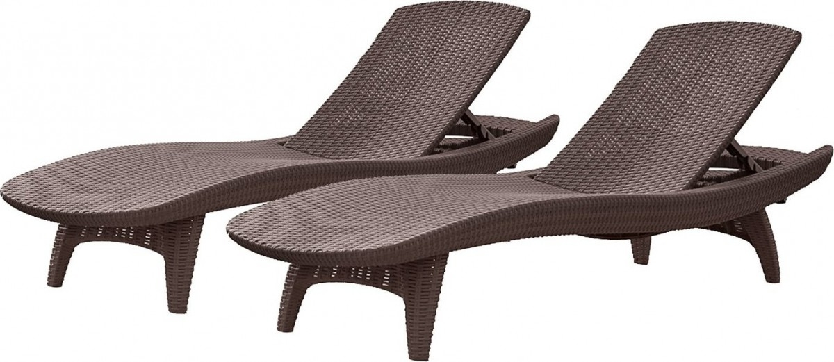 Keter 2Pc Rattan Outdoor Chaise Lounge Chairs – Patio Table Within Newest Keter Chaise Lounges (View 5 of 15)