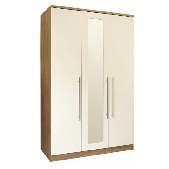 Kevin Wooden Wardrobe In Cream Gloss Fronts With 3 Doors With Regard To Favorite Cream Gloss Wardrobes (View 8 of 15)
