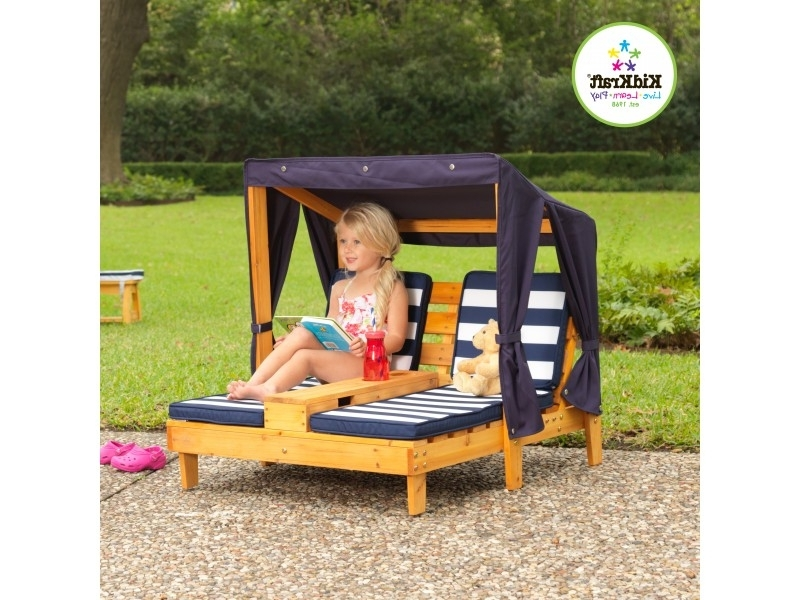 Kidkraft Double Chaise Lounges For Favorite Kidkraft Double Chaise Lounge Honey With Navy & White Stripes (View 8 of 15)