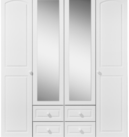 Kingstown Aylesbury 4 Door 4 Drawer Wardrobe – Wardrobes – Carters In Fashionable 4 Door White Wardrobes (View 13 of 15)