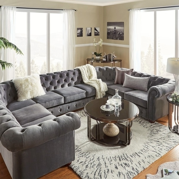 Knightsbridge Tufted Scroll Arm Chesterfield 9 Seat U Shaped Within 2018 Gray U Shaped Sectionals (View 6 of 10)