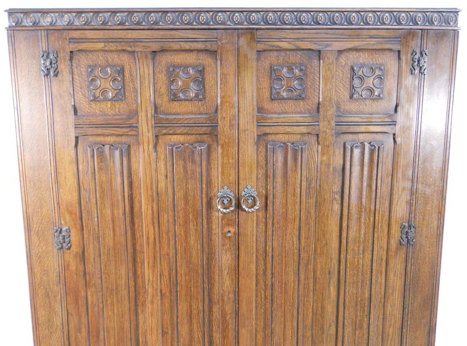 Large Antique Style Carved Oak Two Door Panelled Robe – Sold With Regard To Popular Large Antique Wardrobes (View 7 of 15)
